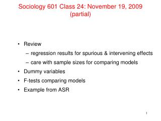 Sociology 601 Class 24: November 19, 2009 (partial)
