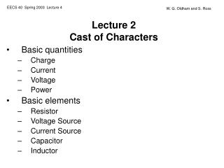 Lecture 2 Cast of Characters