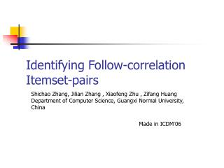 Identifying Follow-correlation   Itemset-pairs
