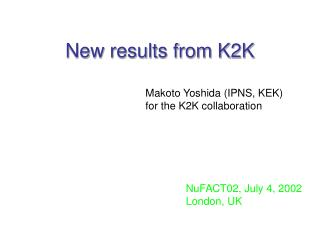New results from K2K