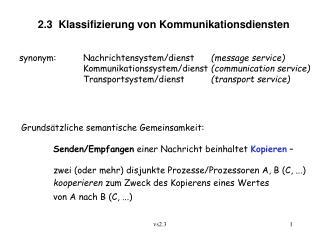 2.3  Klassifizierung von Kommunikationsdiensten