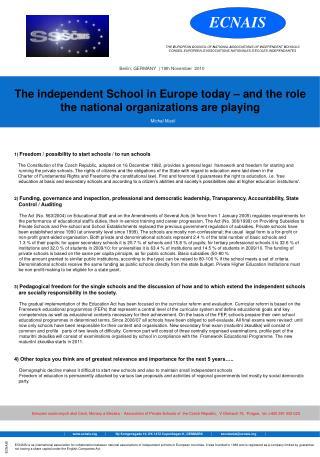 1)  Freedom / possibility to start schools / to run schools