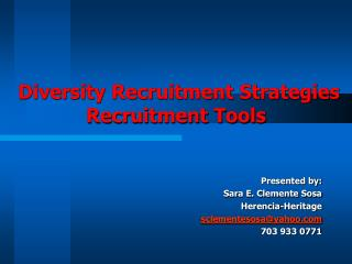 Diversity Recruitment Strategies Recruitment Tools