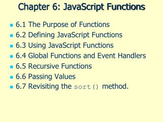 Chapter 6: JavaScript Functions