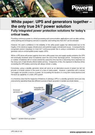 Providing continuous power to critical processing and communication applications such as data centres, online banking an