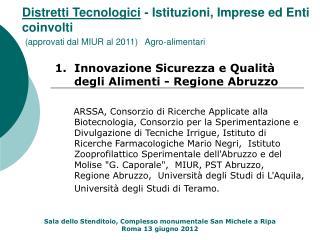 1.  Innovazione Sicurezza e Qualità degli Alimenti - Regione Abruzzo
