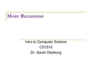 More Recursion