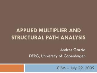 APPLIED multiplier And STRUCTURAL PATH ANALYSIS