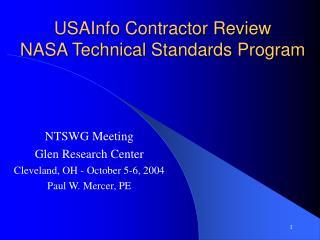 USAInfo Contractor Review  NASA Technical Standards Program