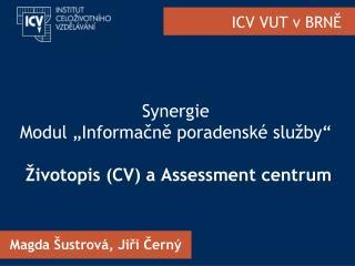 """Synergie Modul """"Informačně poradenské služby""""  Životopis (CV) a Assessment centrum"""