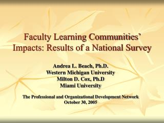 Faculty Learning Communities' Impacts: Results of a National Survey