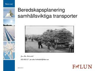 Beredskapsplanering samhällsviktiga transporter