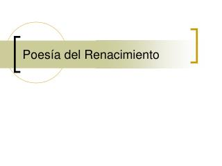 Poes a del Renacimiento