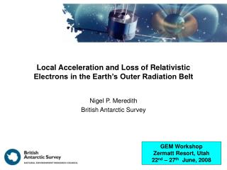 Local Acceleration and Loss of Relativistic Electrons in the Earth's Outer Radiation Belt