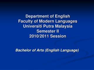 Bachelor of Arts (English Language)