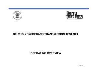 BE-2110i VF/WIDEBAND TRANSMISSION TEST SET