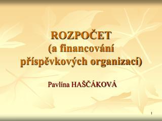 ROZPOČET (a financování příspěvkových organizací)