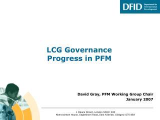 LCG Governance Progress in PFM