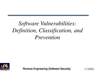 Software Vulnerabilities: Definition, Classification, and Prevention