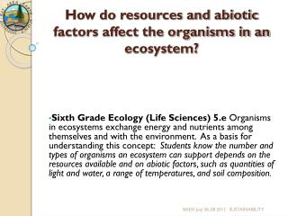 How do resources and abiotic factors affect the organisms in an ecosystem?