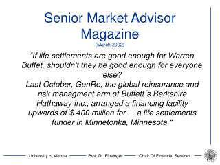 Senior Market Advisor Magazine March 2002