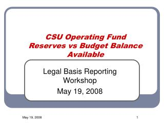 CSU Operating Fund Reserves vs Budget Balance Available