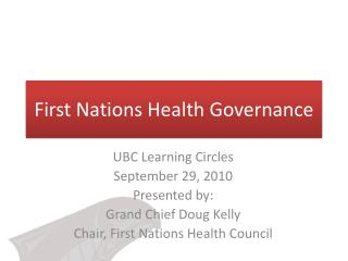 First Nations Health Governance