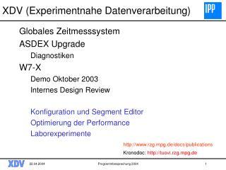 XDV ( Experimentnahe Datenverarbeitung)