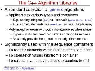 The C++ Algorithm Libraries