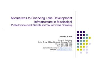 Alternatives to Financing Lake Development Infrastructure in Mississippi Public Improvement Districts and Tax Increment