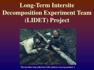 Long-Term Intersite Decomposition Experiment Team (LIDET) Project