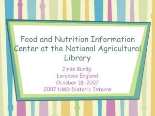 Food and Nutrition Information Center at the National Agricultural Library