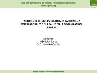Docentes MSc Idier Torres  Dr.C. Nino del Castillo