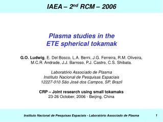IAEA – 2 nd  RCM – 2006