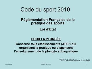 Code du sport 2010