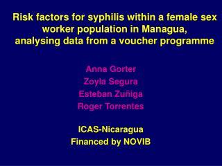 Anna Gorter Zoyla Segura Esteban Zuñiga Roger Torrentes ICAS-Nicaragua Financed by NOVIB