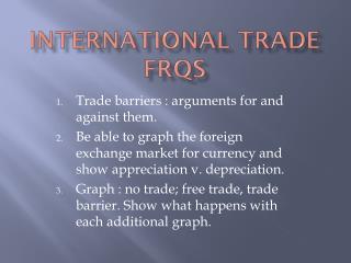 International Trade FRQs