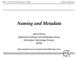 Naming and Metadata
