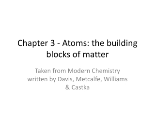 Unit 1: Chemical Building Blocks Chapter 4: Elements  the Periodic Table