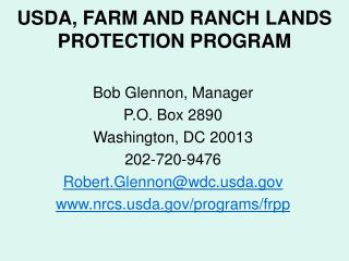 USDA, FARM AND RANCH LANDS PROTECTION PROGRAM