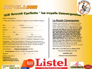 Bulletin d'Engagement : 1 er  Mars 2009, Départ et Arrivée au magasin de Cycle WinBike à Mauguio