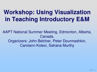 Workshop: Using Visualization in Teaching Introductory EM  AAPT National Summer Meeting, Edmonton, Alberta, Canada. Orga