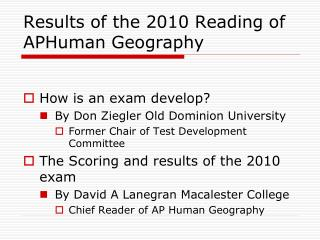 Results of the 2010 Reading of APHuman Geography