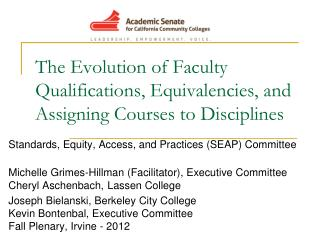 The Evolution of Faculty Qualifications, Equivalencies, and Assigning Courses to Disciplines