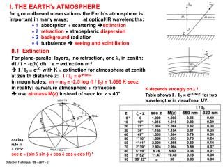 I. THE EARTH's ATMOSPHERE