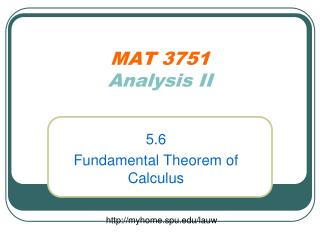 MAT 3751 Analysis II