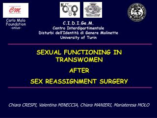 SEXUAL FUNCTIONING IN TRANSWOMEN  AFTER  SEX REASSIGNMENT SURGERY