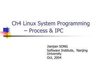 Ch4 Linux System Programming –  Process & IPC