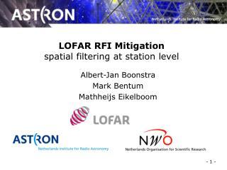 LOFAR RFI Mitigation spatial filtering at station level