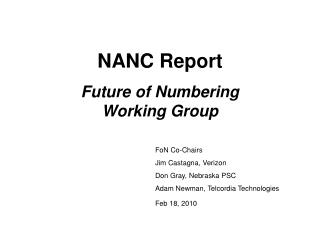 NANC Report Future of Numbering Working Group